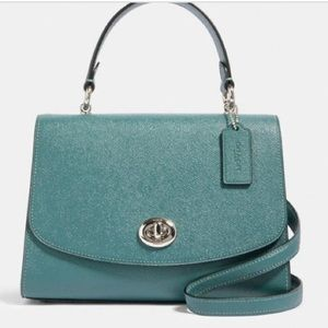 NWT Coach Tilly Top Handle Satchel Dark Turquoise